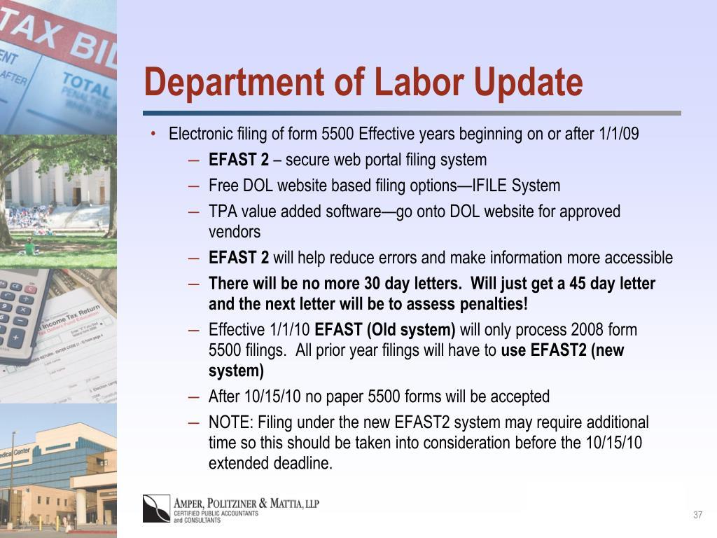 Department of Labor Update