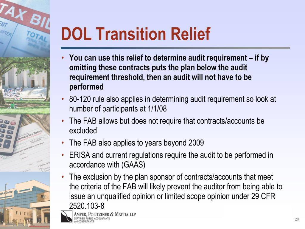 DOL Transition Relief