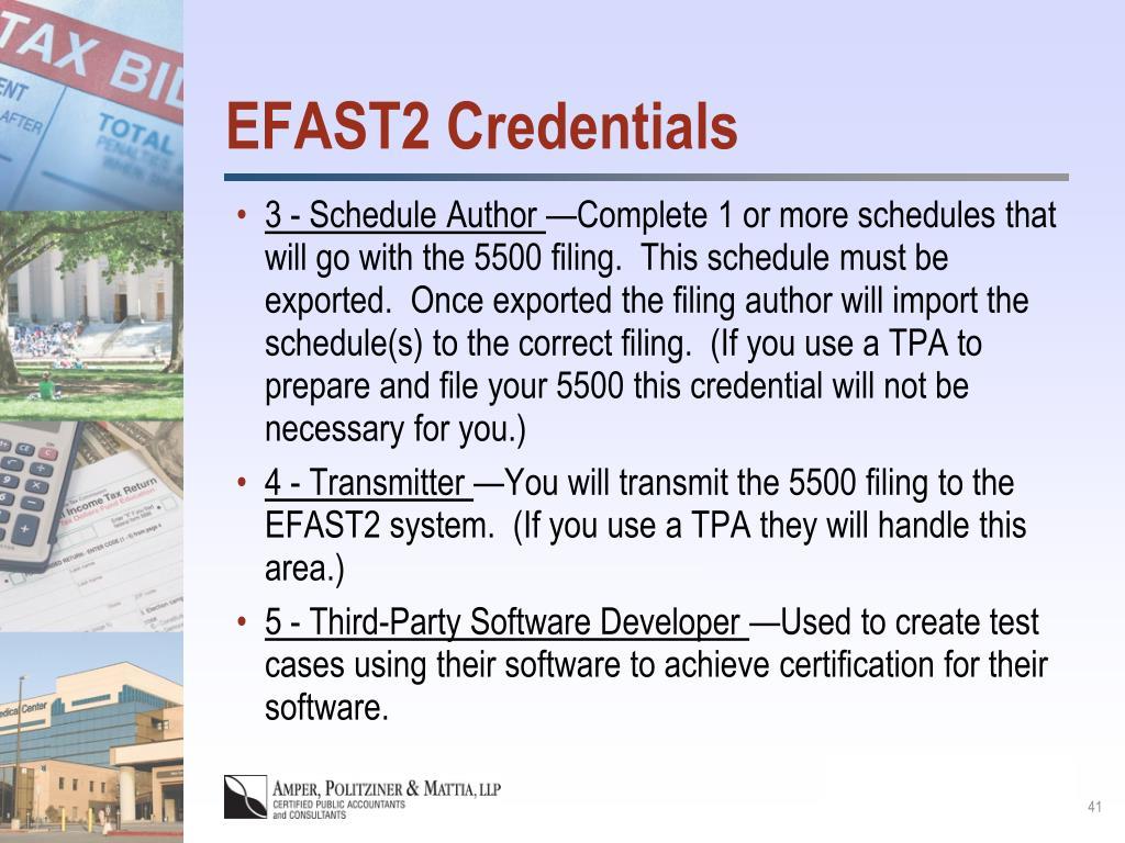 EFAST2 Credentials