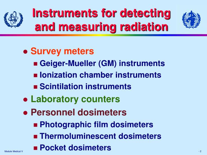 Instruments for d etecting and m easuring r adiation