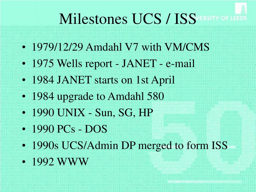 Milestones UCS / ISS