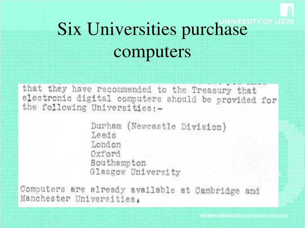 Six Universities purchase computers