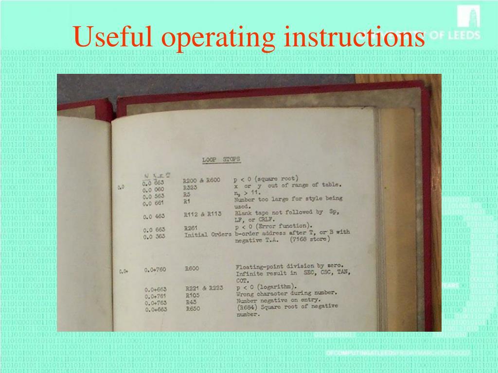 Useful operating instructions