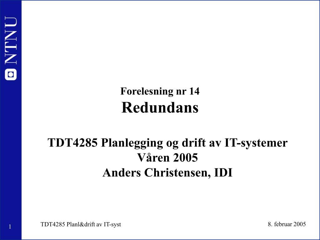 forelesning nr 14 redundans l.
