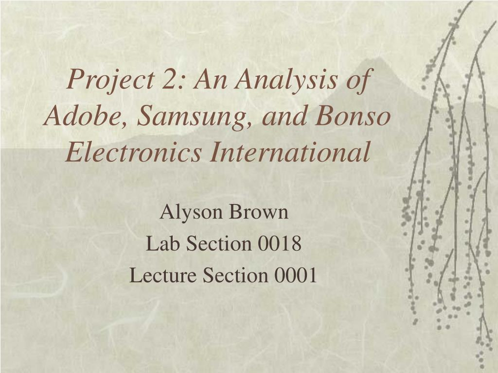 project 2 an analysis of adobe samsung and bonso electronics international l.