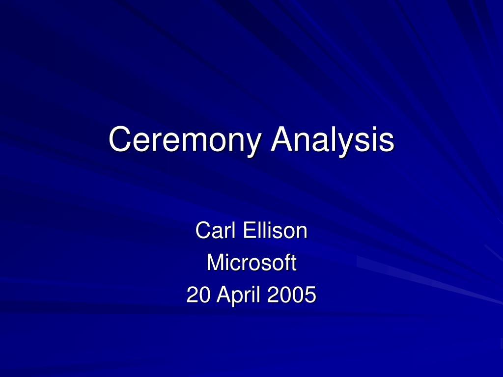 ceremony analysis l.
