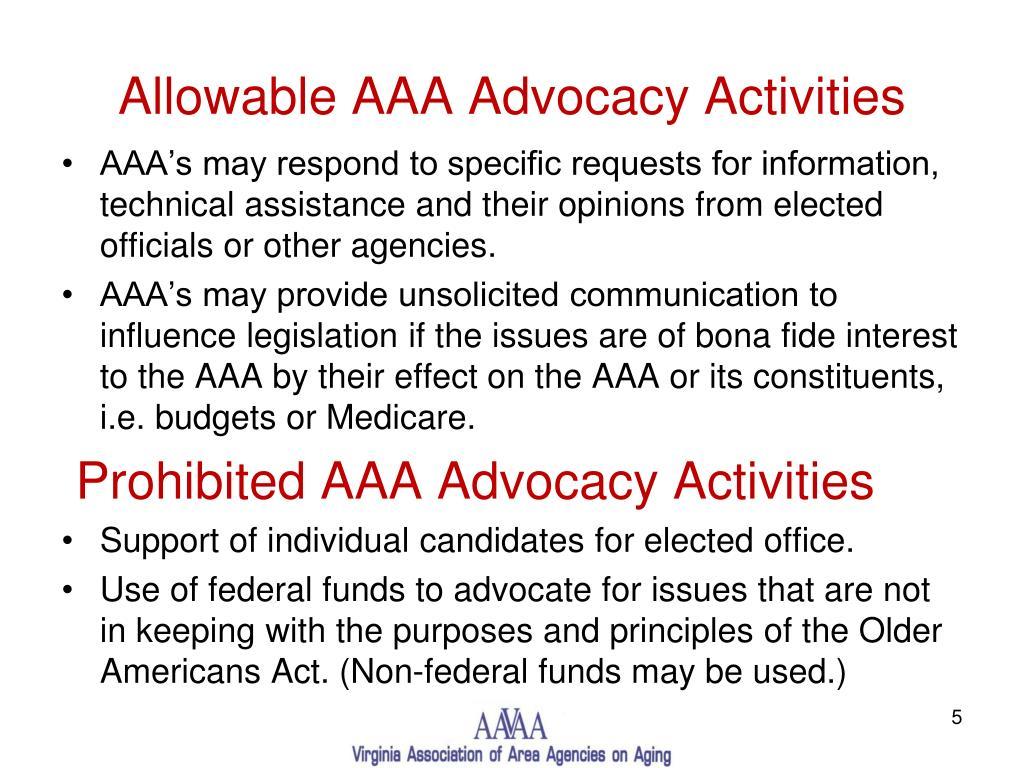 Allowable AAA Advocacy Activities