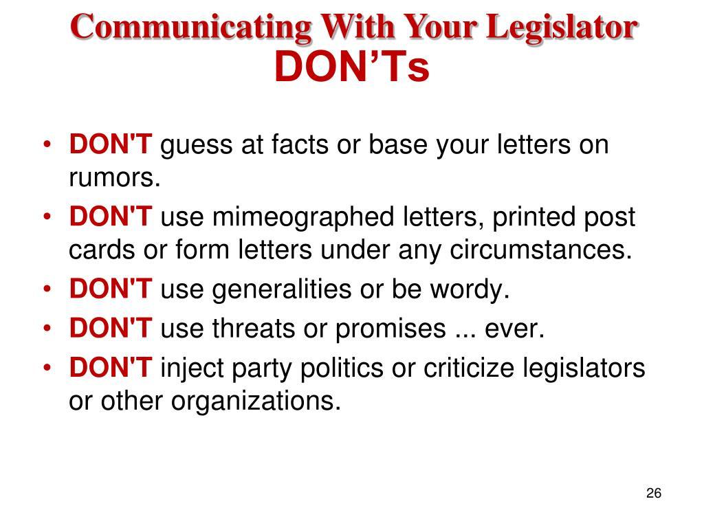 Communicating With Your Legislator