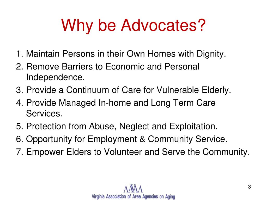 Why be Advocates?