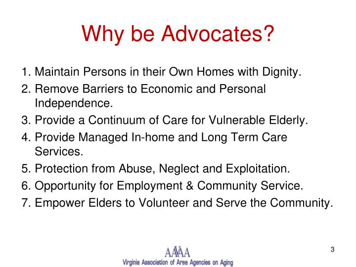 Why be advocates