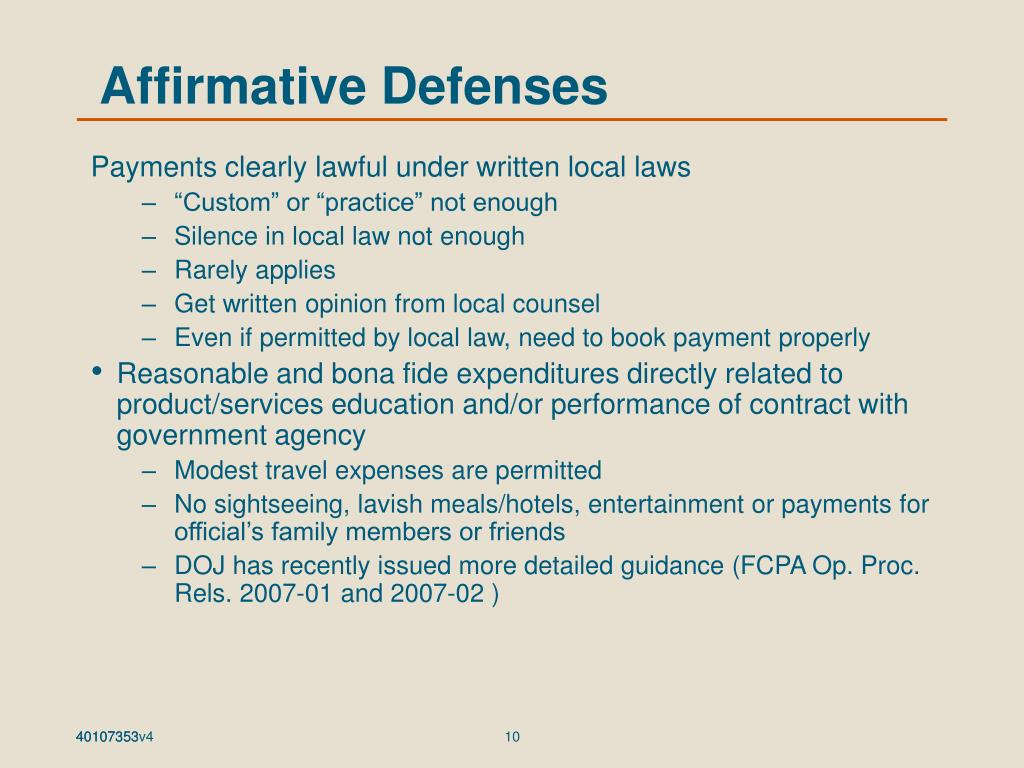 Affirmative Defenses