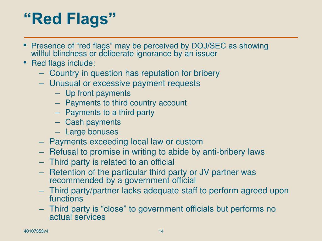 """""""Red Flags"""""""