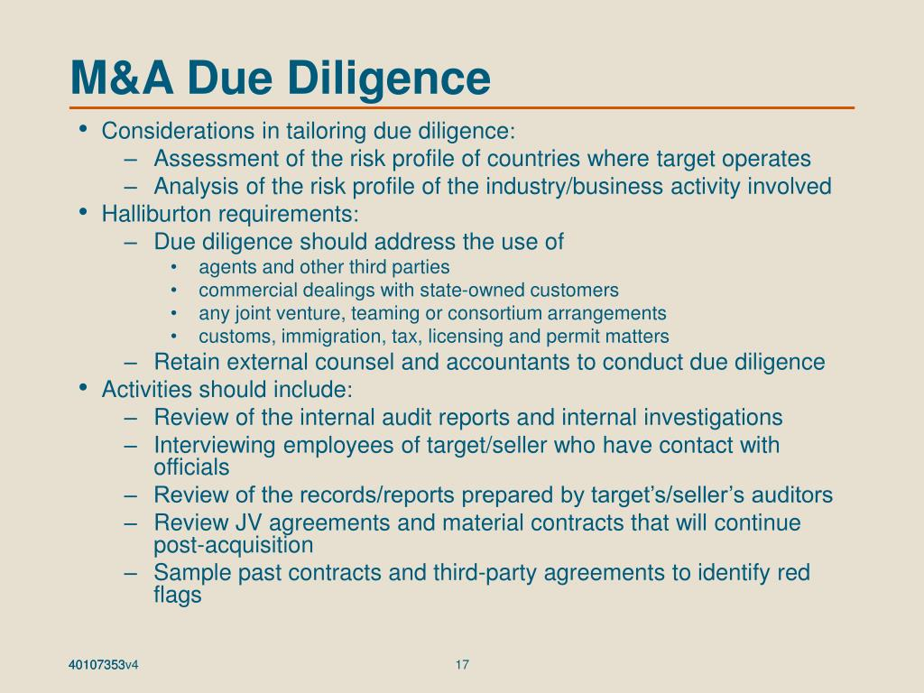 M&A Due Diligence