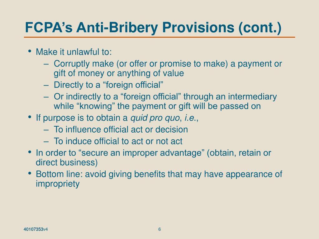 FCPA's Anti-Bribery Provisions (cont.)