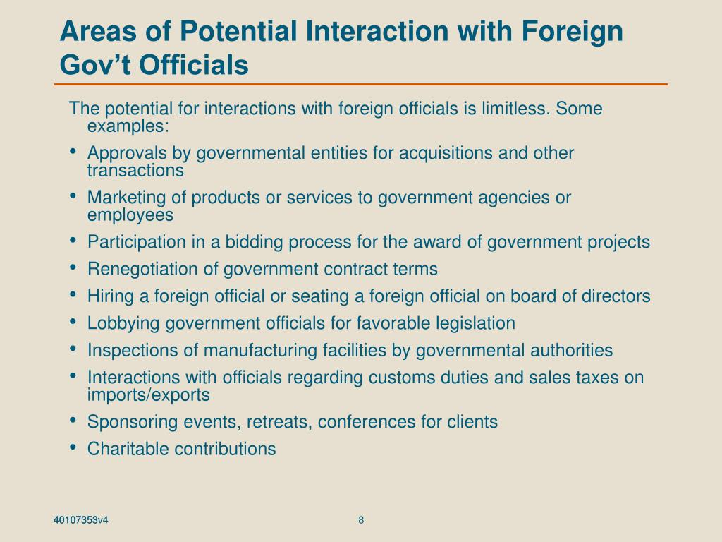 Areas of Potential Interaction with Foreign Gov't Officials