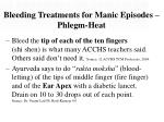 bleeding treatments for manic episodes phlegm heat