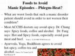 foods to avoid manic episodes phlegm heat