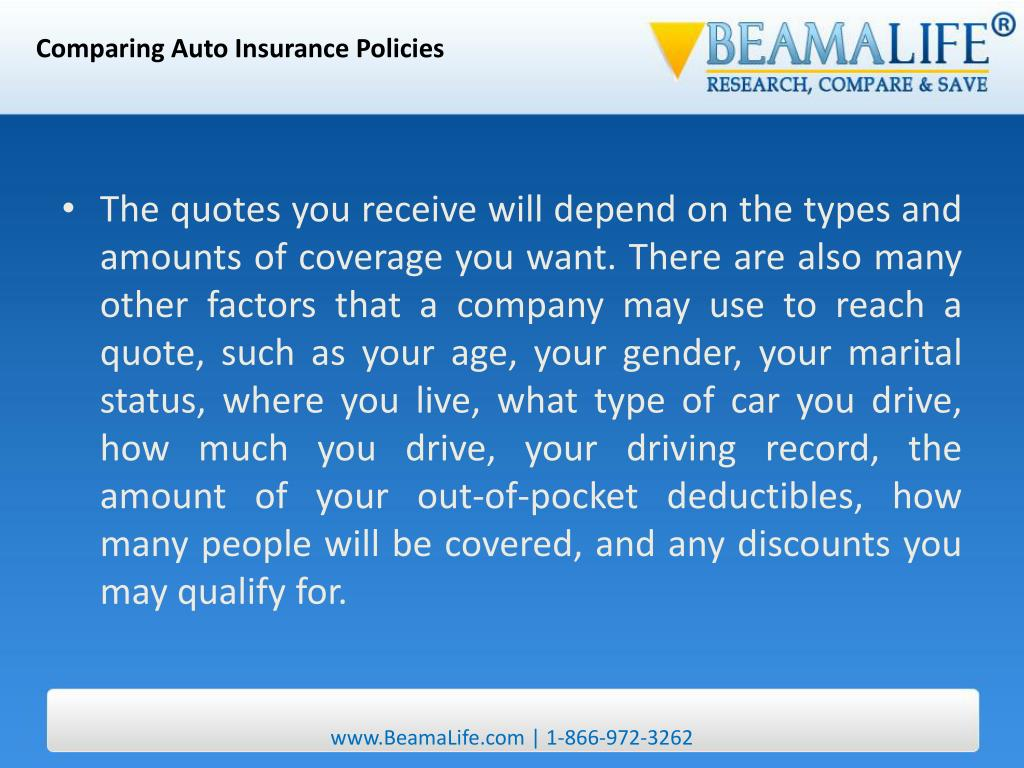 Comparing Auto Insurance Policies