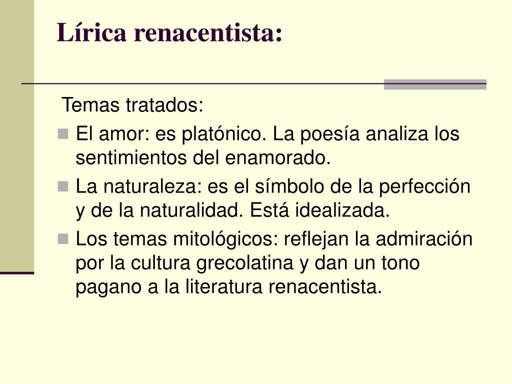 Lírica renacentista: