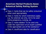 american herbal products assoc botanical safety rating system
