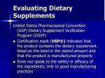 evaluating dietary supplements43