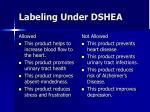 labeling under dshea