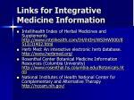 links for integrative medicine information