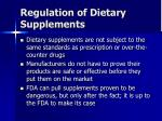 regulation of dietary supplements