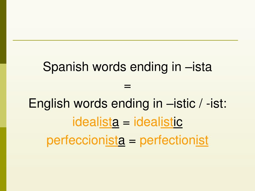 Spanish words ending in –ista