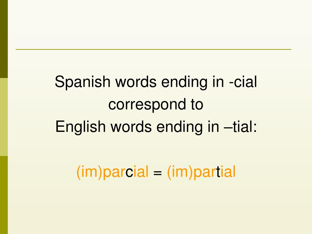 Spanish words ending in -cial