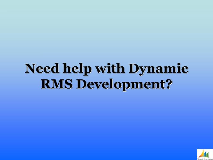 Need help with dynamic rms development