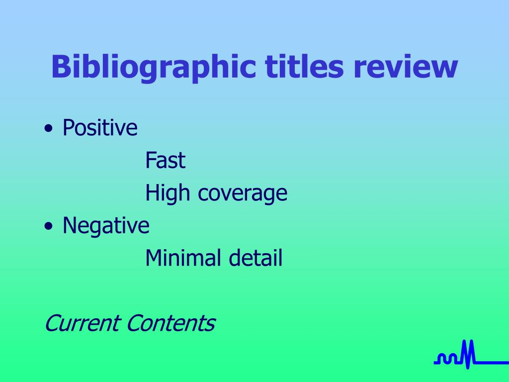 Bibliographic titles review