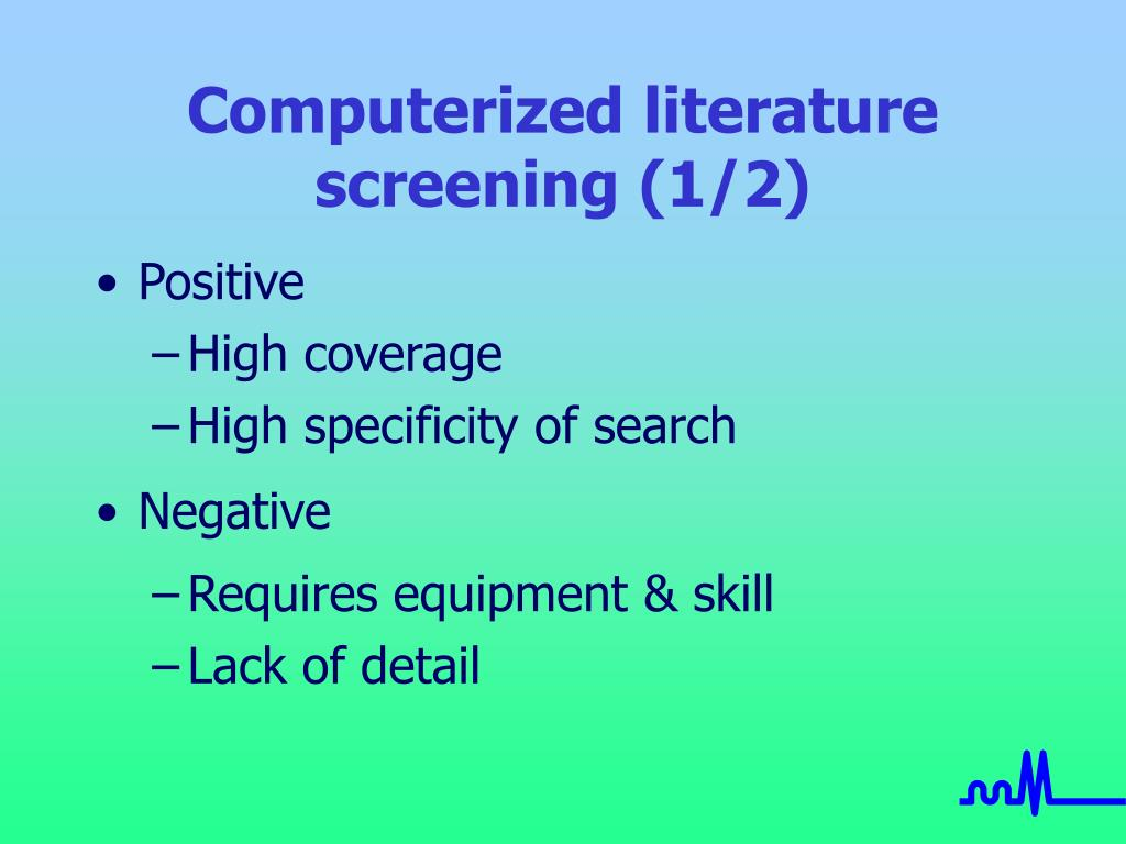 Computerized literature screening (1/2)