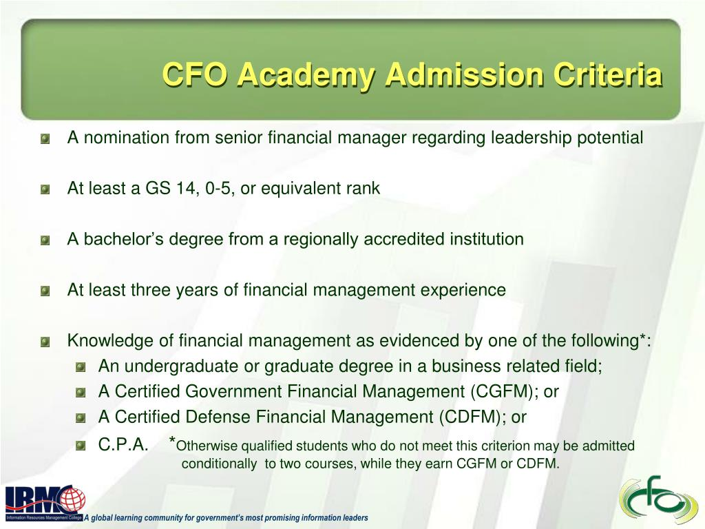 CFO Academy Admission Criteria