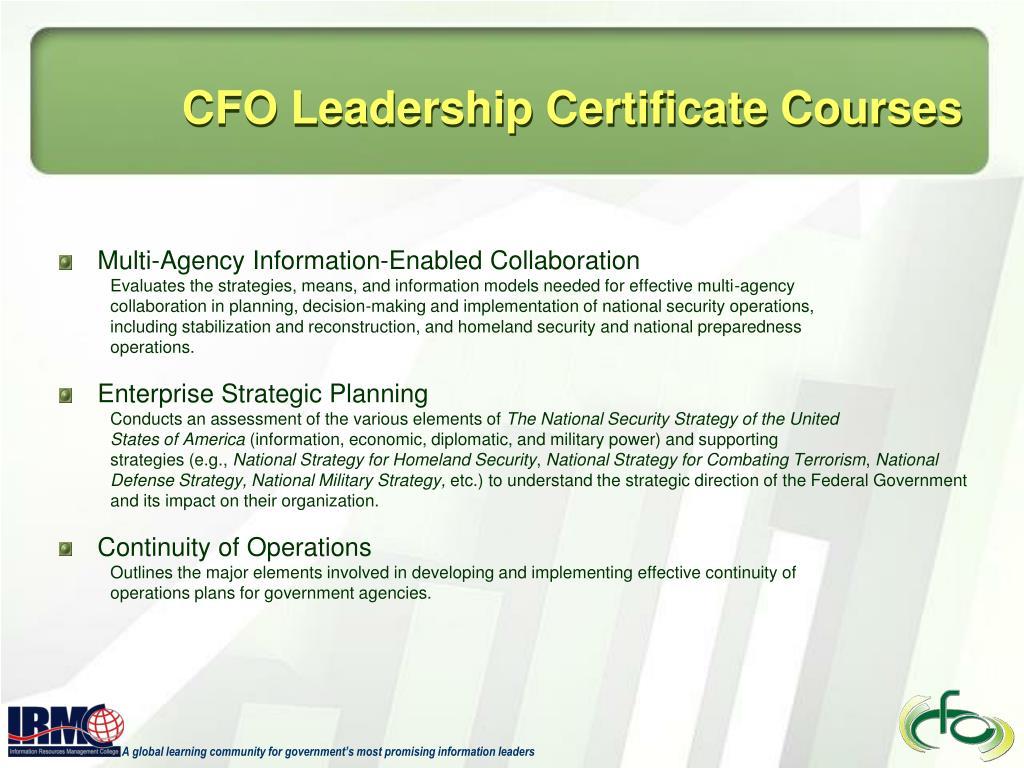CFO Leadership Certificate Courses