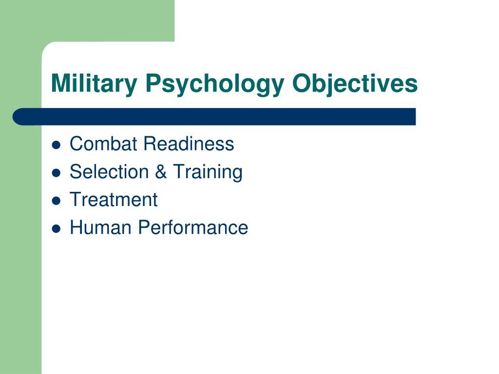 Military Psychology Objectives