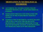 meditation in neurological disorders