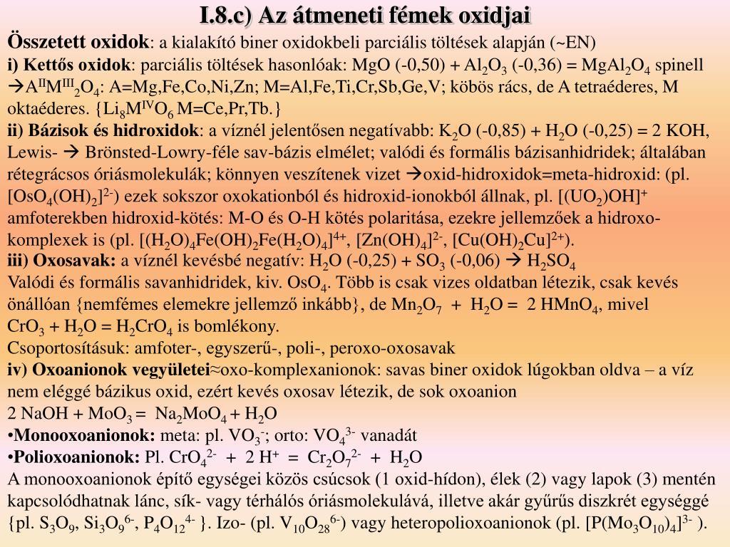 I.8.c) Az átmeneti fémek oxidjai