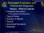 syncope evaluation and differential diagnosis