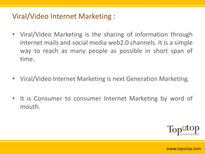Viral video internet marketing