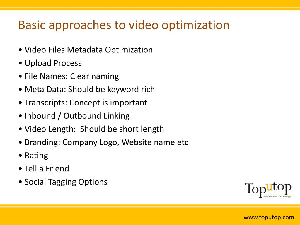 Basic approaches to video optimization