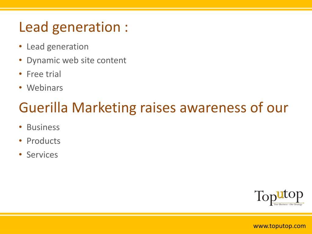 Lead generation :