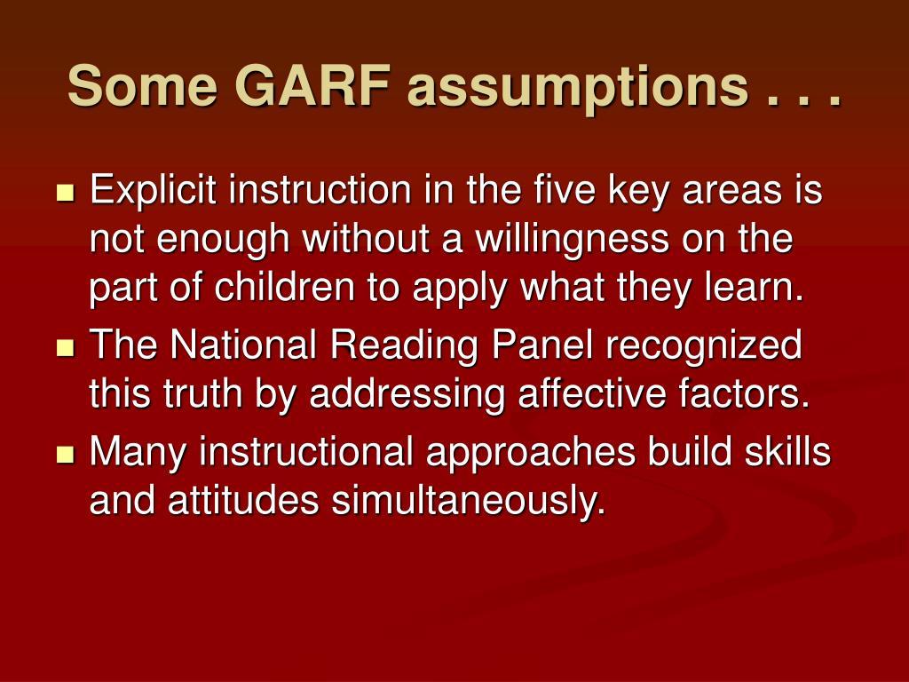 Some GARF assumptions . . .