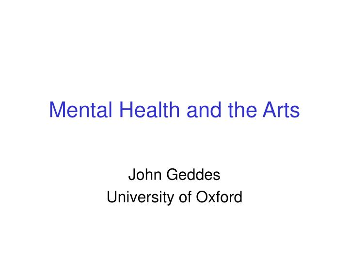 mental health and the arts n.