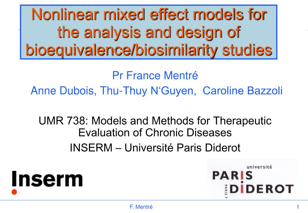 nonlinear mixed effect models for the analysis and design of bioequivalence biosimilarity studies