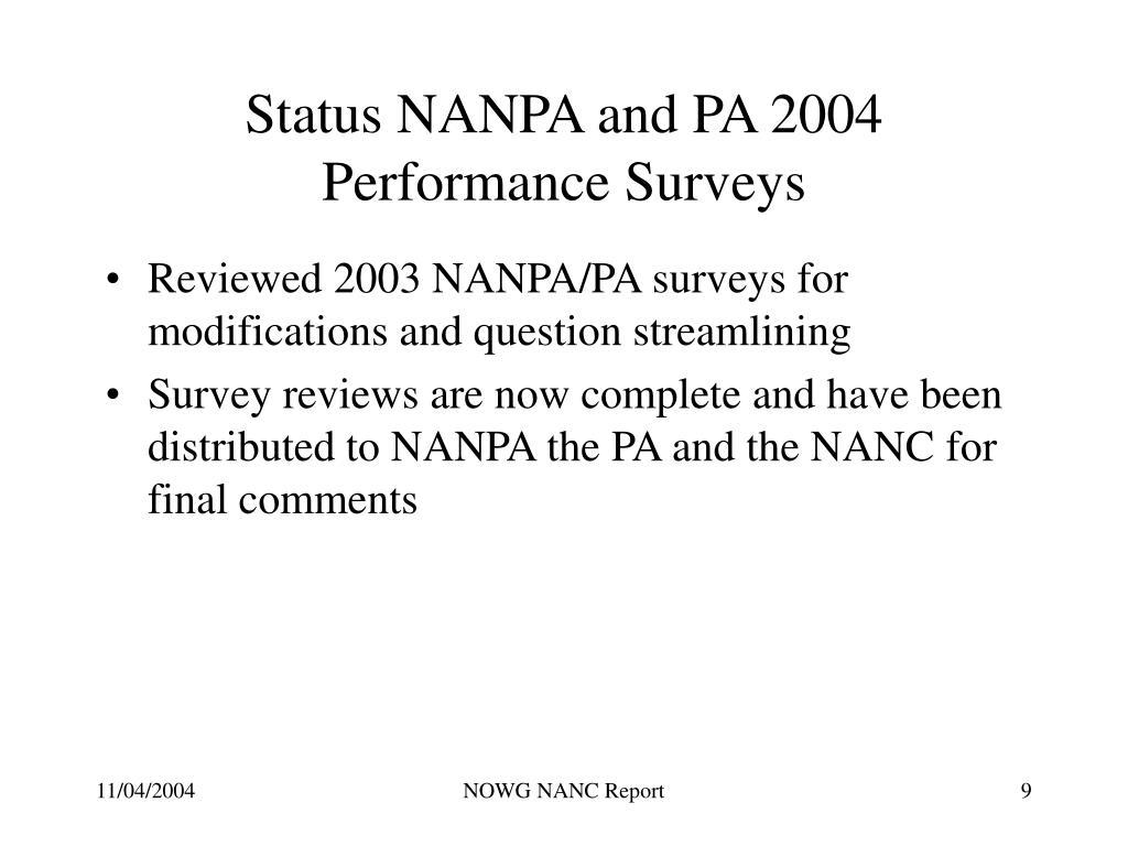 Status NANPA and PA 2004 Performance