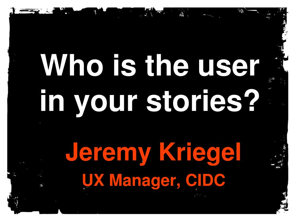 who is the user in your stories l.