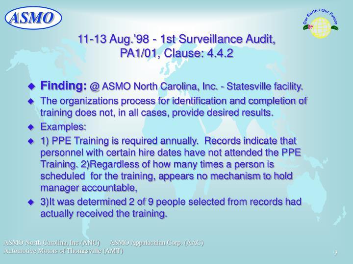 11 13 aug 98 1st surveillance audit pa1 01 clause 4 4 2