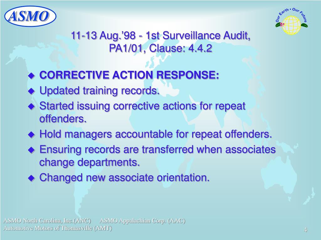 11-13 Aug.'98 - 1st Surveillance Audit,