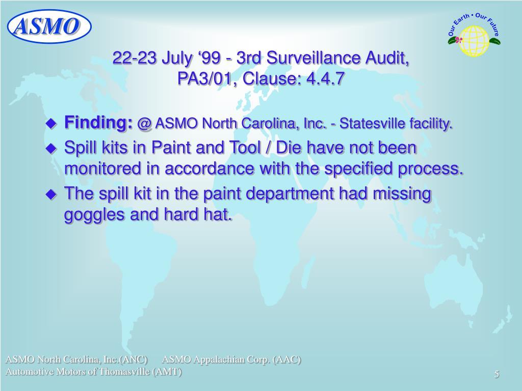 22-23 July '99 - 3rd Surveillance Audit,